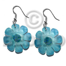 Fashion dangling 30mm flower hammershell in shell earrings