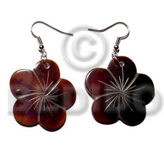 Ethnic dangling 35mm flower blacktab shell earrings