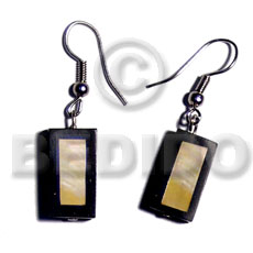 Unisex dangling 20mmx10mm inlaid mop bar shell earrings