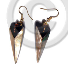 Fashion dangling 38mmx15mm laminated pointed multi-sided shell earrings