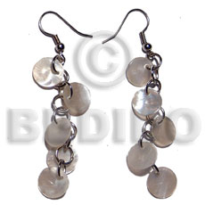 Wholesale dangling 5 pcs.10mm round naturalhammershell shell earrings