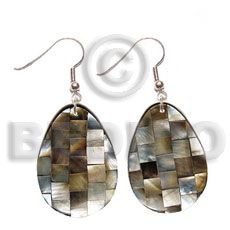 Cebu dangling 35mmx30mm teardrop brownlip blocking shell earrings