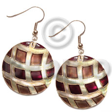 Cebu dangling 35mm round kabibe shell shell earrings