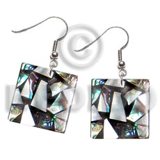 Native dangling flat 20mmx20mm square shell earrings