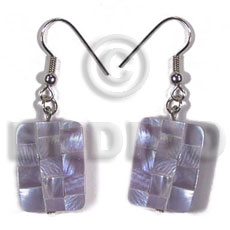 Philippines dangling rectangular 35mmx26mm lilac shell earrings