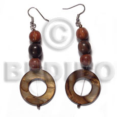 Unisex dangling 30mm round laminated golden shell earrings