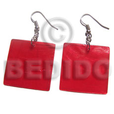 Philippines dangling 30mm square red capiz shell earrings