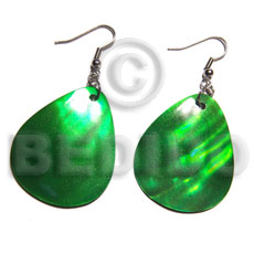 "Natural dangling ""35mmx30mm"" green kabibe shellteardrop shell earrings"