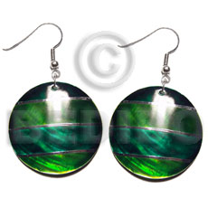 Wholesale dangling handpainted and colored round shell earrings