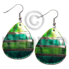 "Ladies dangling ""35mmx30mm"" two tones kabibe shell earrings"