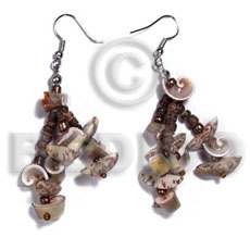 Philippines dangling buri tiger seeds shell earrings