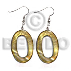 Philippines dangling 30mmx20mm oval laminated high shell earrings