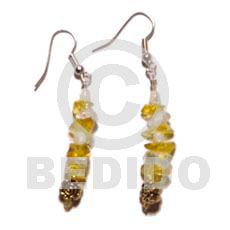 Ethnic dangling troca crystal nuggets shell earrings