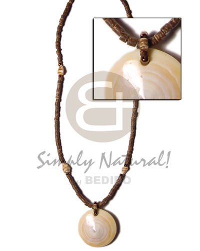 Philippines 2-3mm coco heishe brown nassa alt. shell necklace