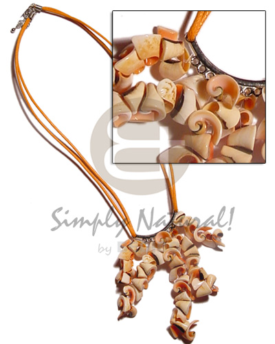 Teens double orange wax cord shell necklace