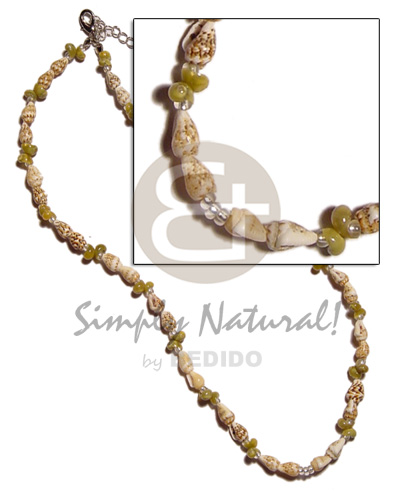 Wholesale nassa tiger green mongo shell necklace