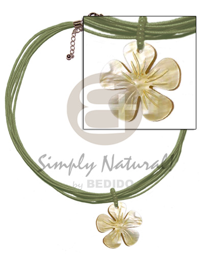 Cebu 6 layer olive green wax shell necklace