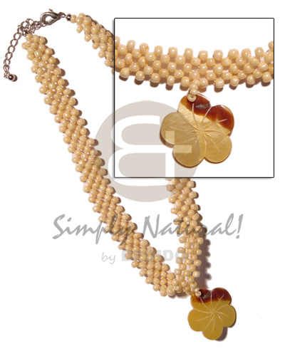 Philippines 35mm mop flower skin shell necklace