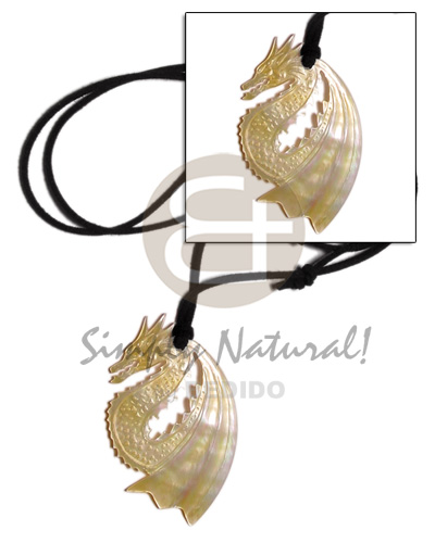 Teens 55mm carved dragon mop in shell necklace