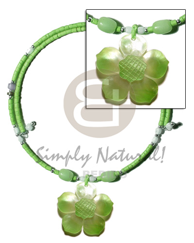 Philippines neon green 2-3mm coco heishe shell necklace