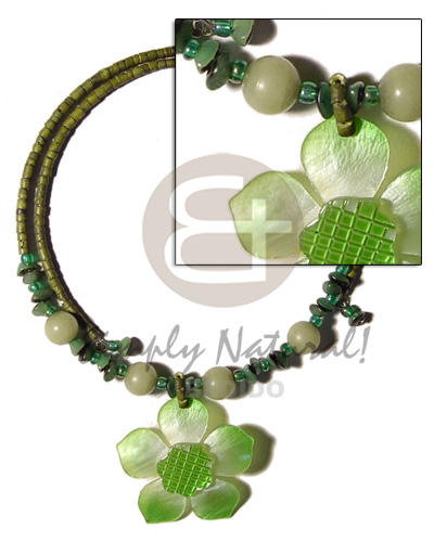 Natural 2-3mm olive green coco heishe shell necklace