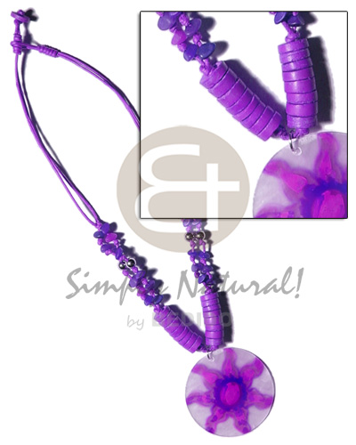 Fashion 2 layer knotted lilac cord shell necklace