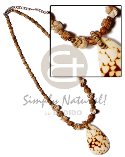 Ethnic 2-3mm coco pokalet tiger shell necklace
