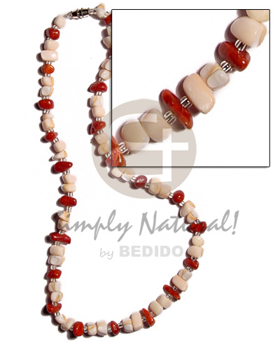 Fashion luhuanus mosaic red corals shell necklace