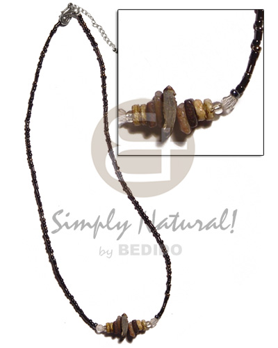 Handmade glass beads brownlip chunks shell necklace