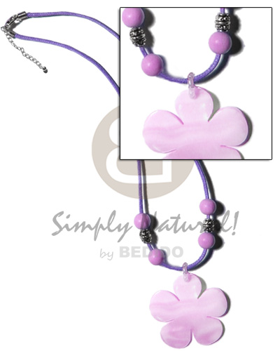 Ladies 40mm lilac kabibe flower shell shell necklace