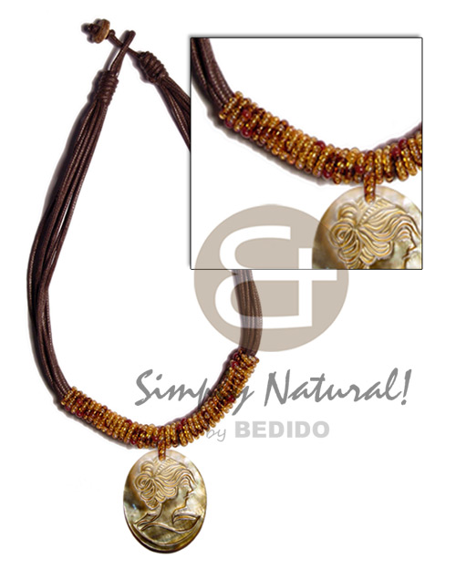 Wholesale 8 layers wax cord shell necklace