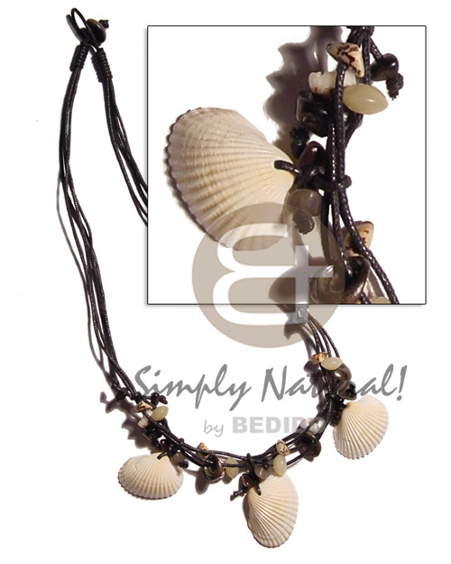 Wholesale 3 layers black wax cord shell necklace