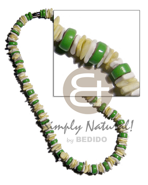 Philippine green 7-8mm coco pokalet shell necklace