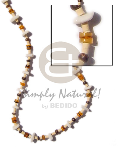 Fashion 2-3 heishe bleach pukalet natural shell necklace