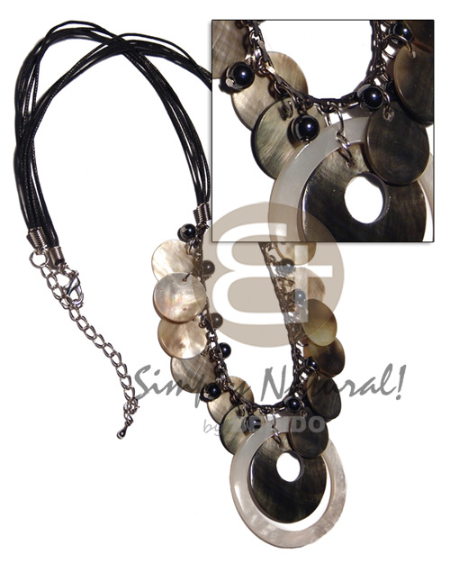 Native 4 layers black wax cord shell necklace