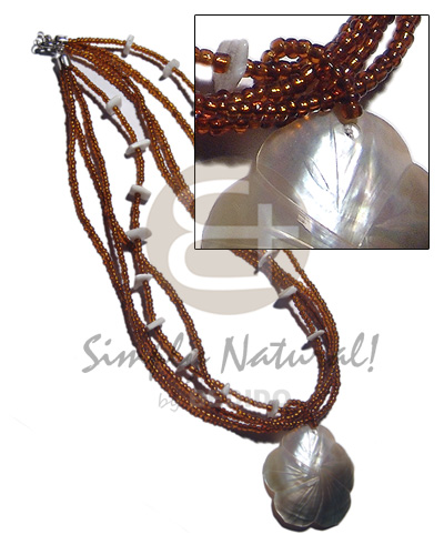 Ethnic 4 layers amber glass beads shell necklace