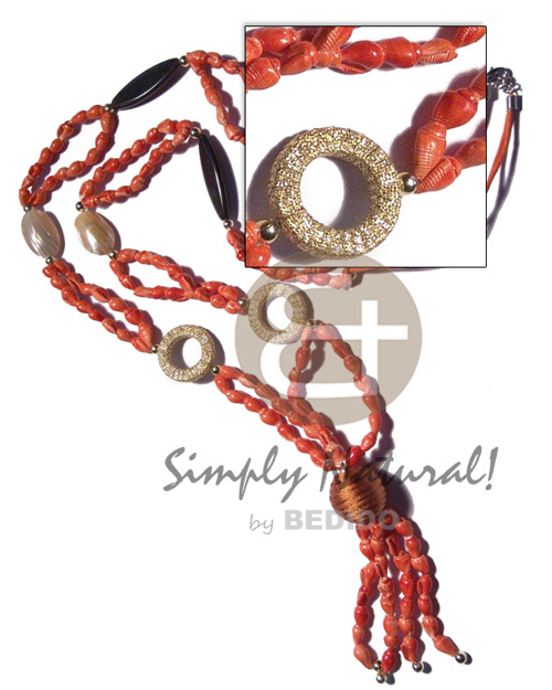 Philippine tassled 2 rows orange wax shell necklace