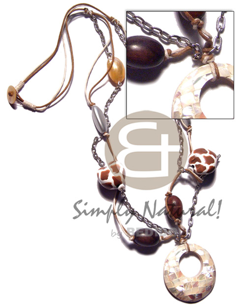 Fashion animal print kukui nuts gold shell necklace