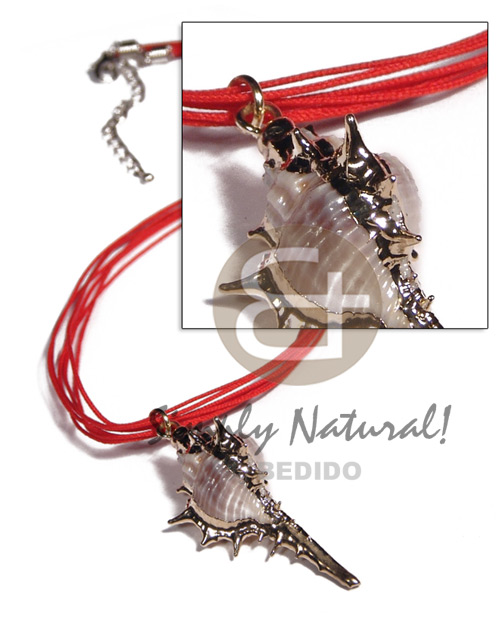 Ethnic 7 rows red cell string shell necklace