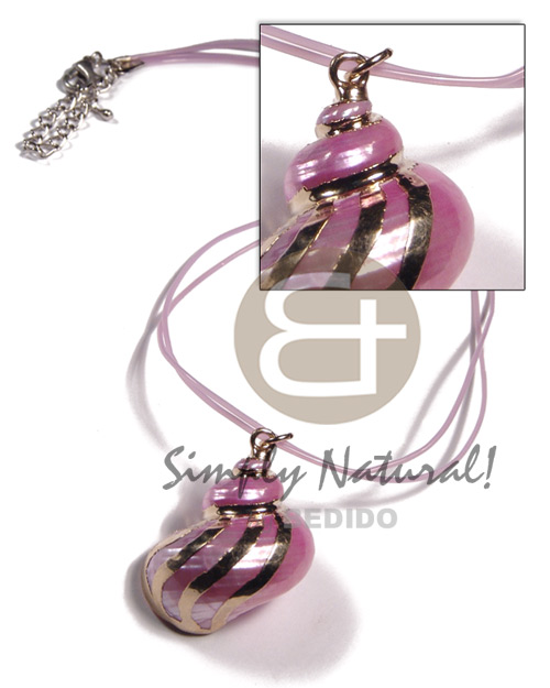 Natural 2 rows lilac jelly cord shell necklace