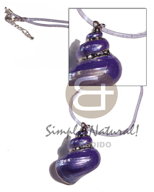 Ladies clear purple jelly cord shell necklace