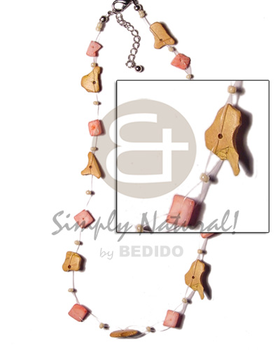 Fashion floating coco pink shell nuggets shell necklace