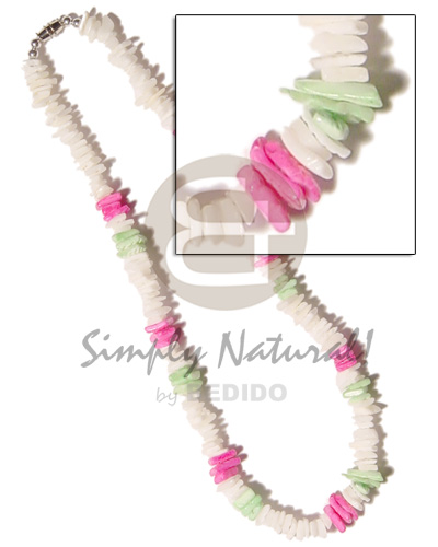 Ladies white rose pink green combination shell necklace