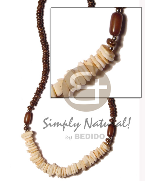 Fashion brown 4-5mm yellowish white shell necklace