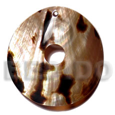 Teens brown lip tiger disc 60mm shell pendant