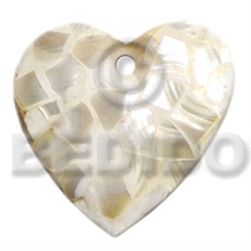 Teens 45mm heart natural white kabibe shell pendant