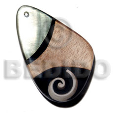 Ladies 60mmx40mm 7mm thickness everlasting shell pendant