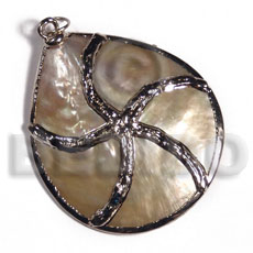 Natural mop 40mm molten silver metal shell pendant