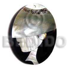 Teens 50mmx38mm oval pendant elegant hat shell pendant