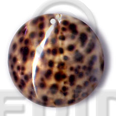 Ladies round tiger cowrie 40mm shell pendants